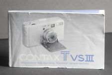 Contax Genuine TVS III Camera Instruction Book / Manual / User Guide