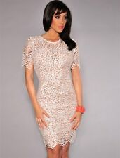 New Cream & Nude Crochet Lace Dress Mother Of the Bride Party Wear Size 12-14