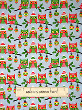 Christmas Owl Fabric ~ 100% Cotton By Yard ~ Holiday Owls Perched Glitter Accent