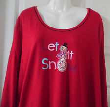 RED LET IT SNOW BLACK PIPED SLEEPSHIRT LONG SLEEVE NIGHTGOWN POLY COTTON 2X-3X