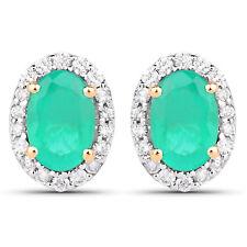 0.99 ct Genuine Zambian Emerald & White Diamond 14K Yellow Gold Stud Earrings