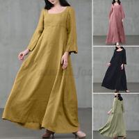 Women Casual Loose Plain Solid Kaftan Abaya Gown Flare Long Maxi Dress Plus Size