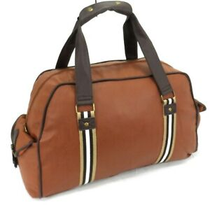 Italian Leather Style Holdall Luggage Weekend Duffel Travel Overnight Bag Brown
