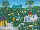 Old Vintage Artist Signed Original Haitian Ethnic Folk Art Painting Haiti