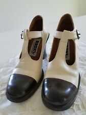 VINTAGE BRONX SHOES,TWO TONE IVORY/BROWN CAP, T STRAP,  40s SWING, SIZE 7 B