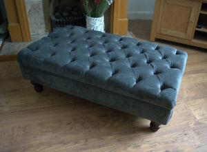 Chesterfield  Deep Button Large Footstool in Casino Charcoal Fabric