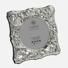 """CARRS - Traditional Sterling Silver Photo Frame With Grey Velvet Back - 3½"""""""