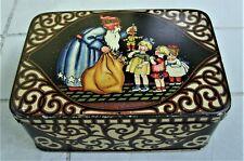 Antique Victorian Christmas Pretzel Cookie Shortbread Tin Blue Robe Santa Toys