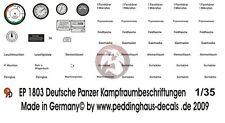 Peddinghaus 1/35 Instrument Fighting Compartment Markings German Tanks WWII 1803