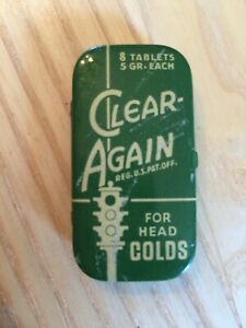 Vintage Small Medicine Tin Clear Again For Head Colds Stop Light Aurora Labs ILL