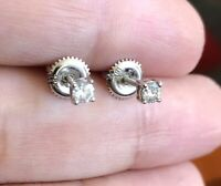 Designer Solid 18ct White Gold Solitaire Diamond Earrings 0.25ct Studs