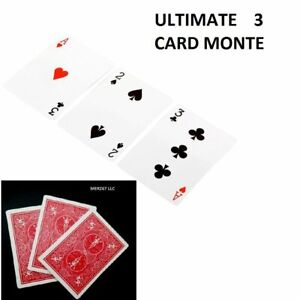 ULTIMATE 3 CARD MONTE GIMMICK BICYCLE RED OR BLUE BACK CARDS 2 EASY MAGIC TRICK