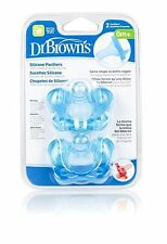 Dr. Browns Pacifiers, Silicone, Same Shape As Bottle Nipple, 0M+, Blue, 2 Count