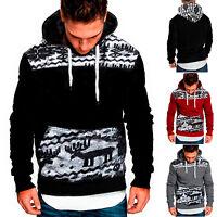 Herren Weihnachten Elch Kapuzenpullover Sweatshirt Pullover Pulli Hooded Sweater