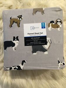 Mainstays 4 Piece Dog Print Twin Size Flannel Sheet Set 100% Cotton New Cozy