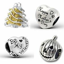 925 Sterling Silver Solid Charm Beads European Bracelets Christmas Celebrations