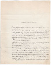 1857 AUTOGRAPH LETTER by Source of NILE Explorer D'ESCAYRAC to De LESSEPS - Suez