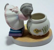 Kitty Cucumber Porcelain Figurine Cat in Fish Bowl 1986 B Shackman Schmid