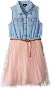 NEW Zunie Girls Denim Sleeveless Pink Tutu Dress with Brown Belt DENIM/BLUSH