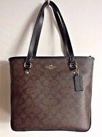 NWT Coach 58294 Zip Top Tote Signature Coated Canvas handbag Brown / Black