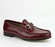 $640 1953 New Gucci Men's Brushed Shiny Horsebit Loafer Burgundy 387598 6148