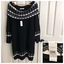 LOFT L Sweater Dress Black Off Shoulder Boat Neck Fair Isle Holiday Thick $89