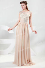 Lang Perlen Formal Abendkleider Brautjungfernkleid Hochzeit Ballkleider Gr:32-46