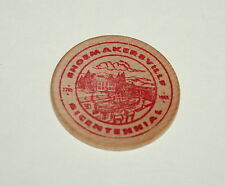 Vintage Wooden Nickel Coin Shoemakersville PA Bicentennial 1965 NOS Red ink