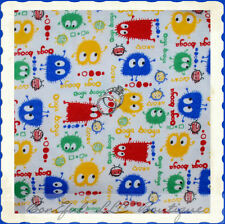 BonEful Fabric FQ Cotton KNIT Bright Blue Yellow Red Green Ooga Booga Lg Monster