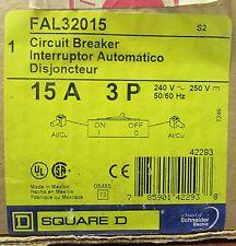 Square D Thermal Magnetic Circuit Breaker Fal32015 3 Pole 15 Amp 240 V