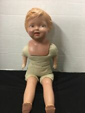 Antique Composition/Cloth Doll w/Molded Blonde Hair Painted Features 19�