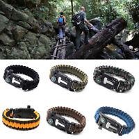 Survival Tactical Bracelet Outdoor Paracord Scraper Whistle Flint Fire Gear kits
