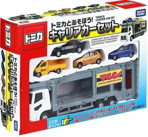 Takara Tomy Tomica Carrier Car with 4 Mini Toyota Nissan Diecast cars play set