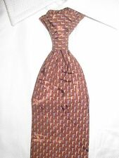 $195 BRIONI HAND MADE SELF-TIPPED SILK TIE BROWN/SILVER/BLUE NEW