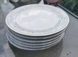 SET OF SIX PRETTY PASTEL BLUE CROWN MING PORCELAIN TEA PLATES