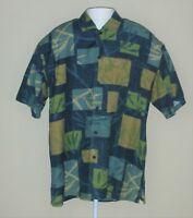 Half Moon Bay Hawaiian Mens Large 16-16 1/2 Button Up Short Sleeve Shirt Blue