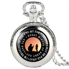 Unique TO MY SON LOVE DAD Quartz Pocket Watch Necklace Chain Best Gift to Boy