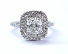Tiffany & Co Platinum Cushion Cut Diamond Soleste Engagement Ring 1.35Ct F-VVS2