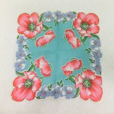 Vintage Hankie Light Minty Green w Shades of Pink Poppies Blue Flowers 12 Inch