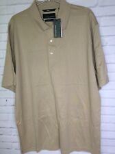 Greg Norman Double Mercerized 50/2 Beige Mens Golf Polo Shirt Short Sleeve XL