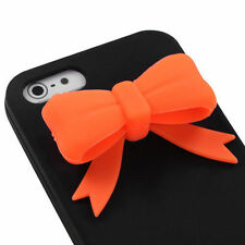 iPhone 5 5S SE Rubber SILICONE Soft Gel Skin Case Phone Cover Black Orange Bow