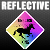 Reflective Unicorn Crossing Wall Decal Xing Street Sign Art Decor Rainbow Dorm