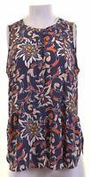 ANN TAYLOR Womens Shirt Sleeveless Size 12 Medium Multicoloured Polyester  EV11