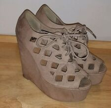 Shiekh tall wedge shoes heels lace up cut out open toe size 7M GUC