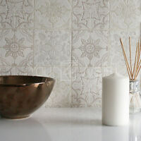 'Moroccan Tile' Geometric Tile Effect Wallpaper in Grey, Beige, Cream White
