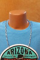 Native Southwestern Sterling Silver Navajo Chain Necklace - Stripe Stamped