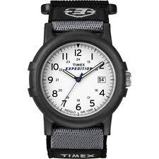 """Timex T49713, Homme """" Expédition Camper """" Noir Wrapstrap Montre, Indiglo, Date"""