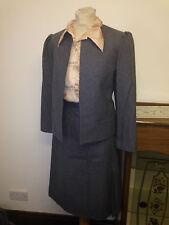 Vintage años 60 gris de lana mezcla chaqueta y falda Mod Traje de Reino Unido 12 Med