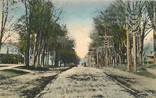 BROOKPORT NEW YORK Lake Ave looking North hand colored C-1910 postcard 2824