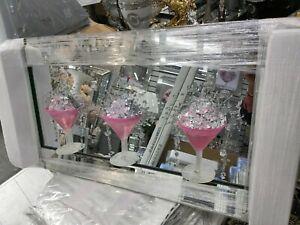 3D Pink Cocktail Glass Liquid Art Pictures